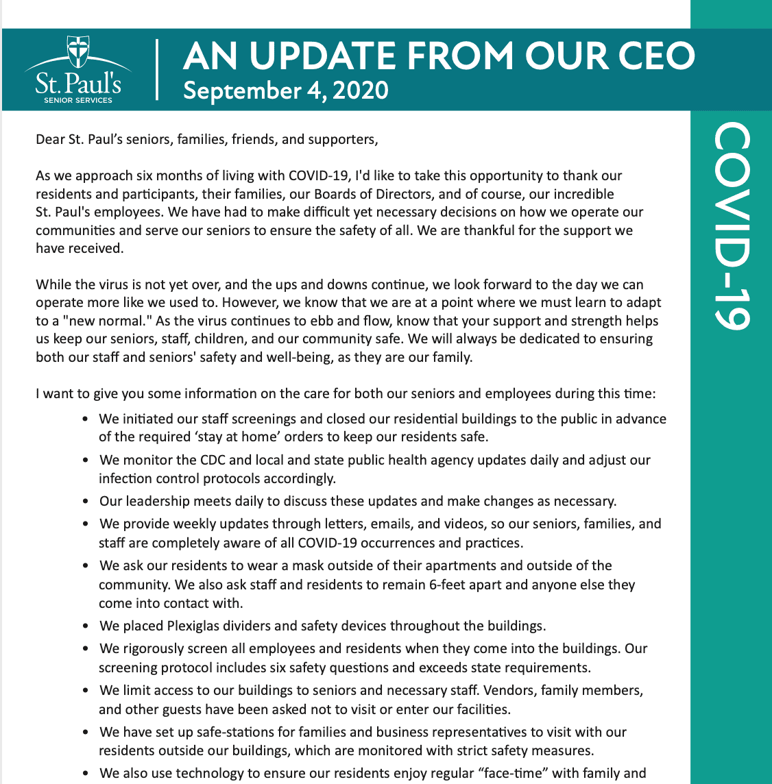 update from our CEO 09/04/2020
